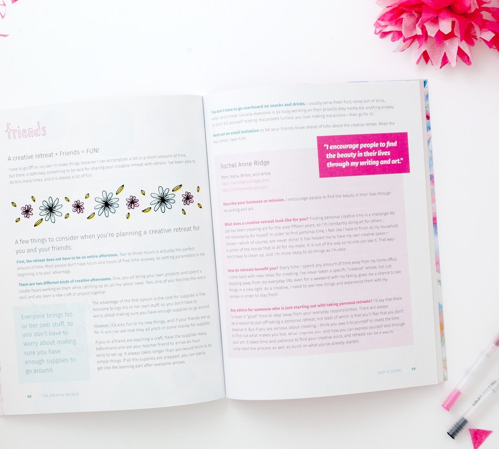 Don't you wish you had more time for your creative projects? I'll teach you how to DIY your own personal retreats that will encourage you and refresh your creative life all year long. This eBook was released last year and has now been completely updated as well as published as a paperback! It's full of encouragement for your creative life, exercises to get you back into creativity, and interviews from 12 creative women. Also includes coloring pages and journaling pages just for fun! Learn more at makearetreat.com