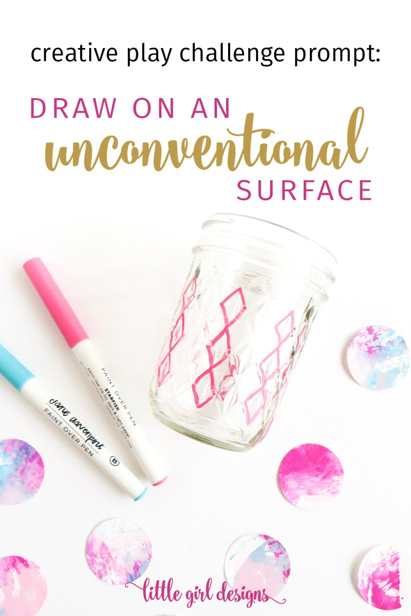 Challenge yourself by doing this creative prompt to draw on an unconventional surface this week. Grab your paint pens, markers, pencils, and paint, and let's do this! (This is a great art activity for kids too!)