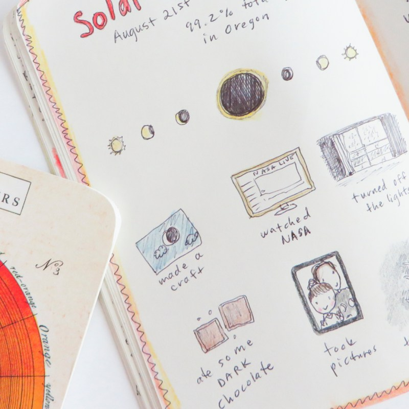 What I drew in my happy journal during the solar eclipse in August 2017.