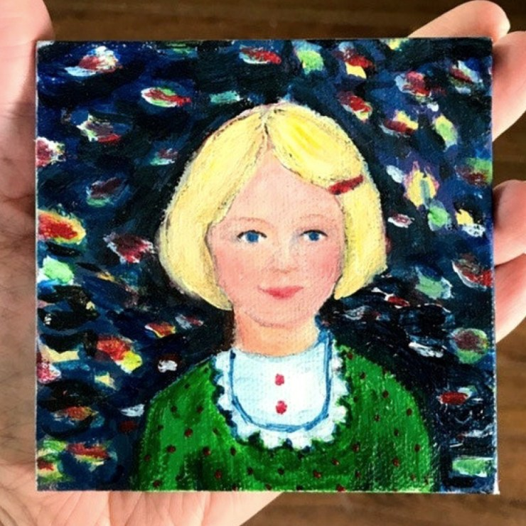 Wouldn't it be fun to paint a mini canvas portrait of each family member?! LOVE.