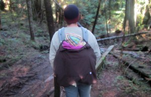 Winter baby carrier cover in back carry position