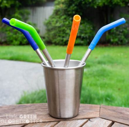 Pack of four Klean Kanteen straws with silicone tips in a Klean Kanteen steel cup. These are a great zero waste food storage item and they're ideal for packing for picnics.