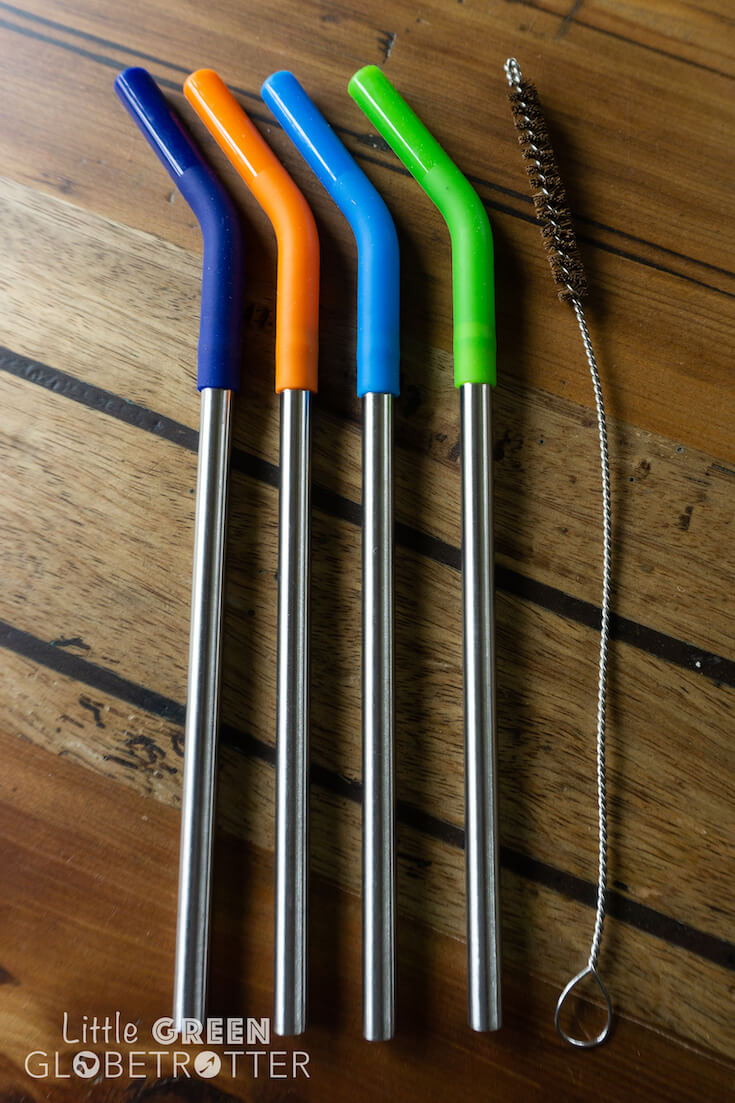 Pack of four Klean Kanteen straws with silicone tips and brush. These are an essential anyone interested in zero waste food storage and they're ideal for packing for picnics.