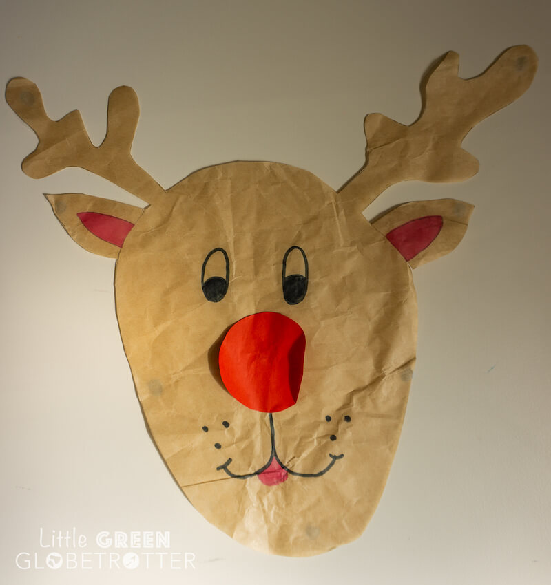 Eco-friendly Christmas game, Pin the Nose on Rudolph, could be part of your green Christmas