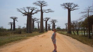 Author showing bump at Avenue of Baobabs demonstrates that travelling while pregnant is possible.