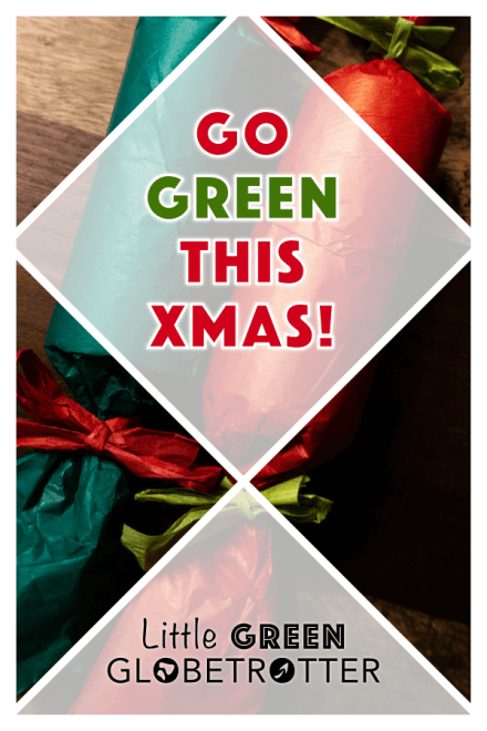 A background image of two zero-waste Christmas crackers with the words 'Go green this Xmas' on top and the website logo.