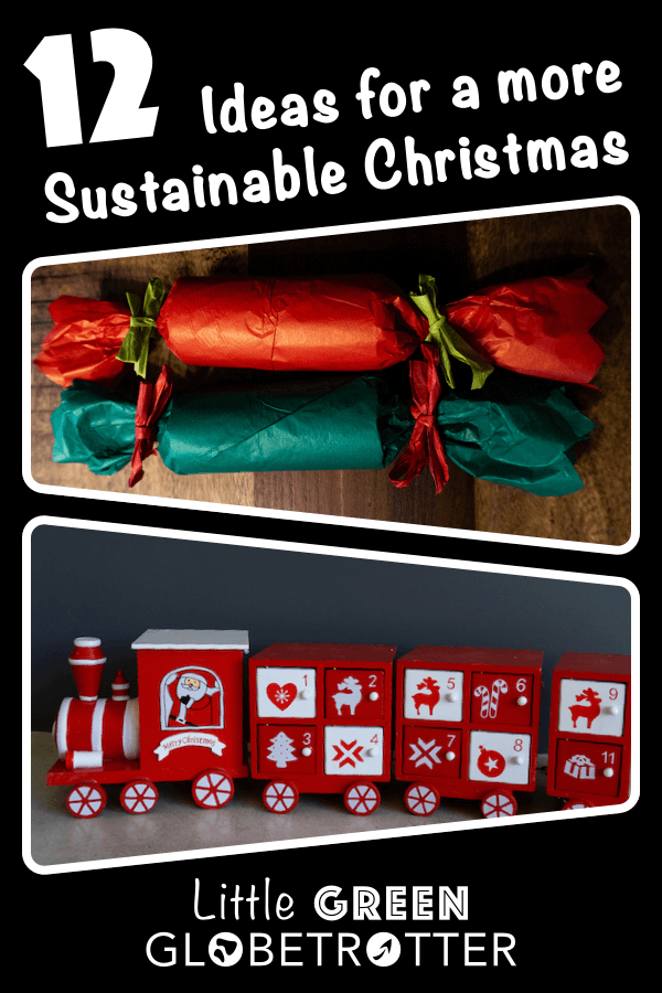 Images of a reusable advent calendar and zero-waste Christmas crackers, with the title '12 ideas for a more sustainable Christmas' and the website logo.