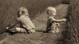 Two young children carefully observing lavender in bloom.