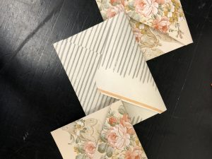 Photo of envelopes made from wallpaper and glue