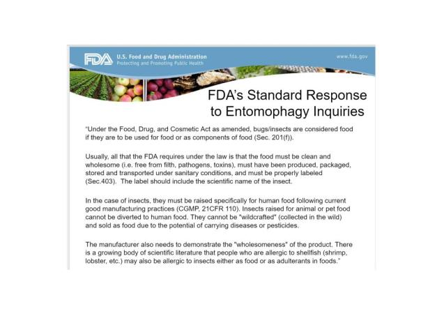 FDA Standard Response to Ento Inquiry