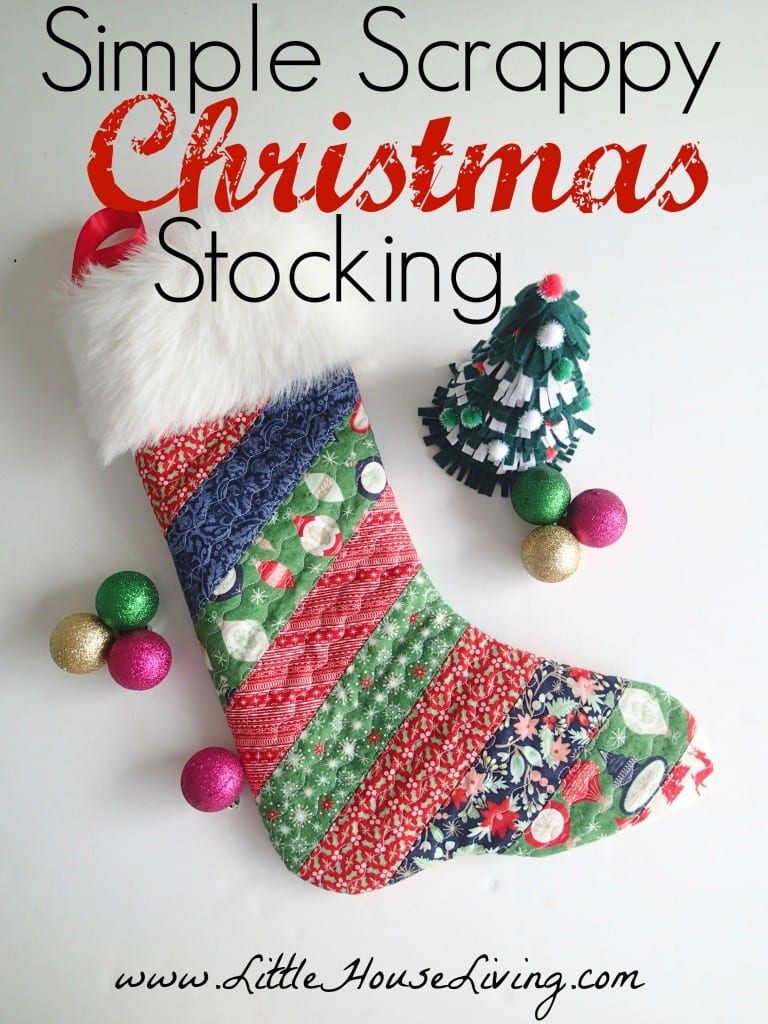 Sewing tutorial: Scrappy quilted Christmas stocking, with free pattern