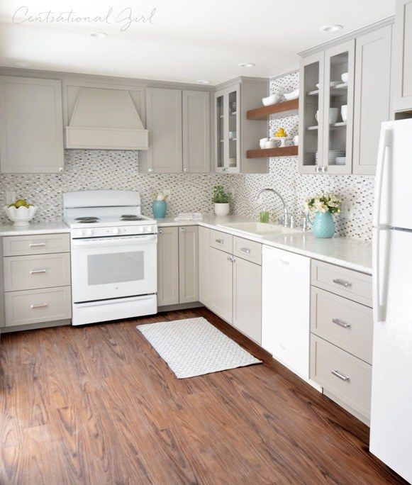 kitchen design white cabinets white appliances. Greige Kitchen Cabinets White Appliances Glass Tile Backsplash Design L