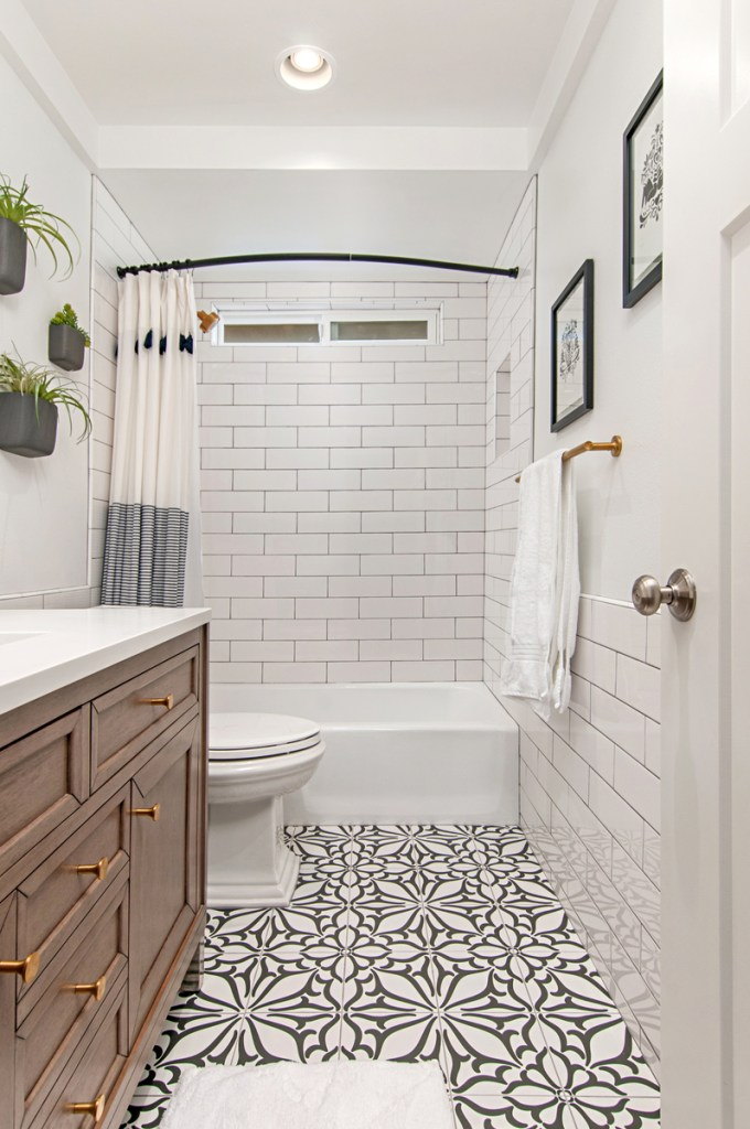 Beautiful Bathrooms with Black and White Cement Tile