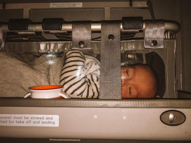 Bassinet on Qantas Airways