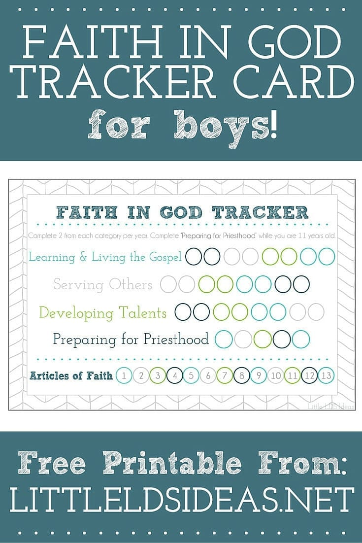 Faith in God Tracker Card for Boys from Little LDS Ideas. Hep the boys in your Primary keep track of their Faith in God with these colorful cards from Little LDS Ideas