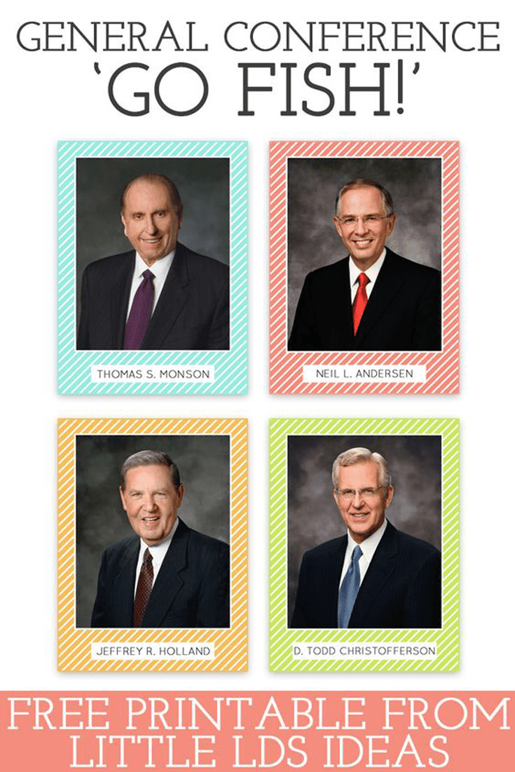 General Conference Go Fish. These Apostle Cards are perfect for a fun game of 'Go Fish' or 'Find the Prophet' or to simply use as flashcards. Free printable from Little LDS Ideas