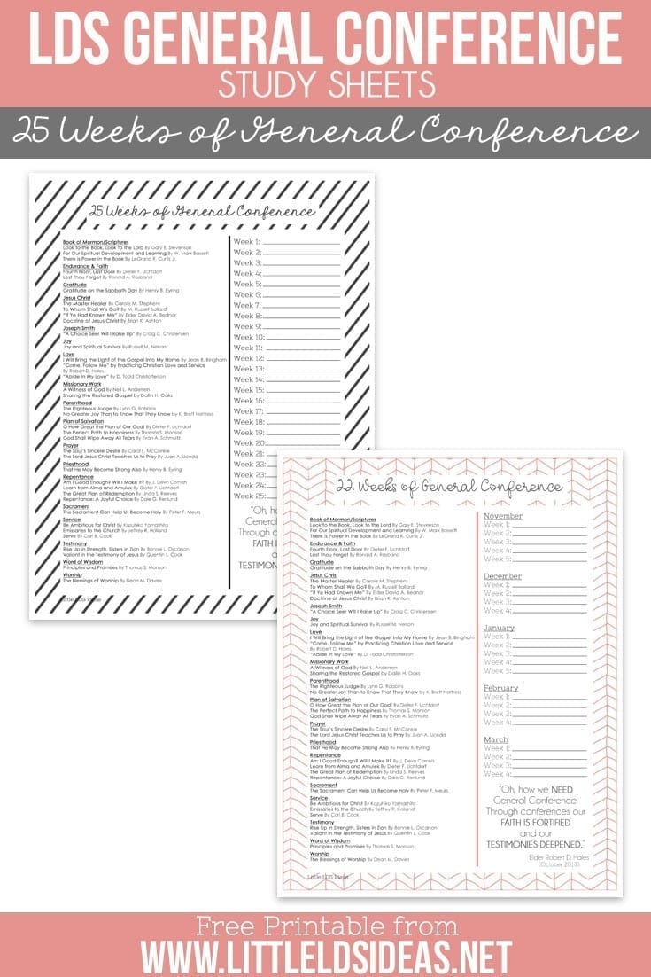 LDS General Conference. Use these General Conference Study Sheets to help you study the General Conference talks over the next 6 months. Free printable from Little LDS Ideas.