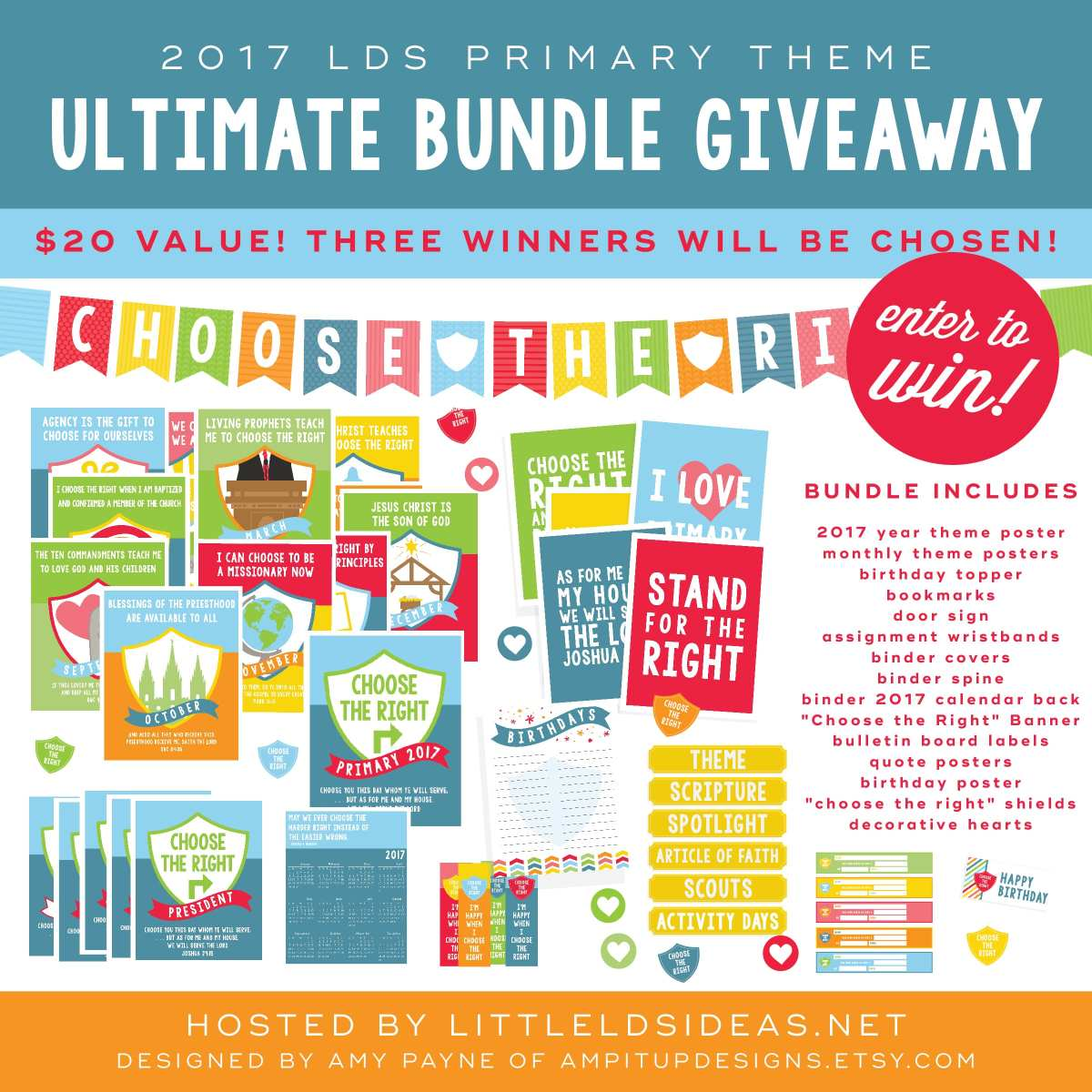 Start 2017 off right with this amazing Ultimate Bundle from AMP it up Designs! Right now enter to win one of three packs on Little LDS Ideas