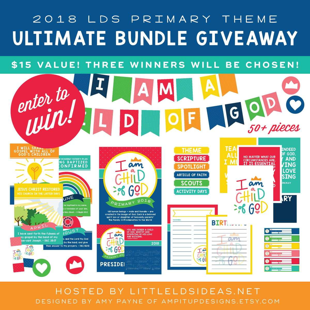 Need a little help getting ready for the new year? Head on over to Little LDS Ideas and enter to win this amazing LDS Primary bundle from AMPitup Designs!