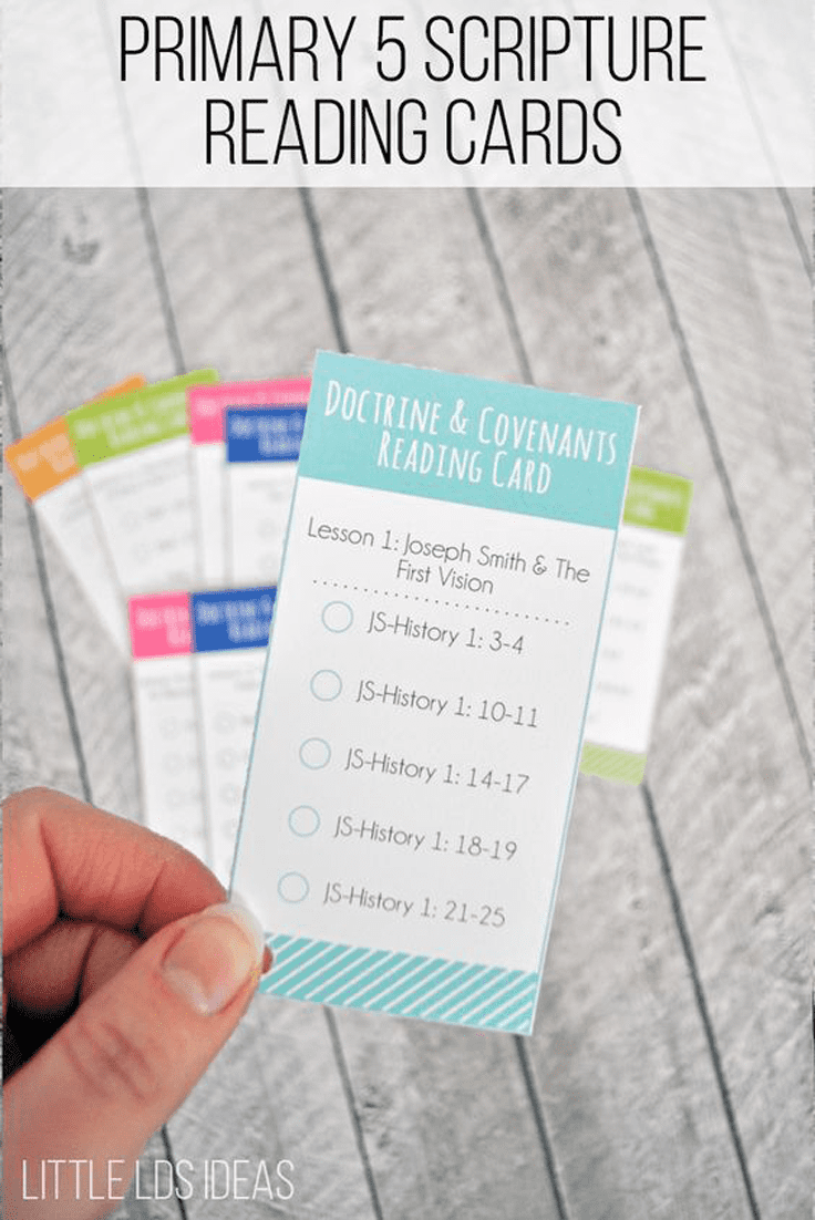 Primary 5 Scripture Reading Cards For Doctrine And Covenants