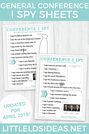 April 2018 General Conference I Spy Sheets