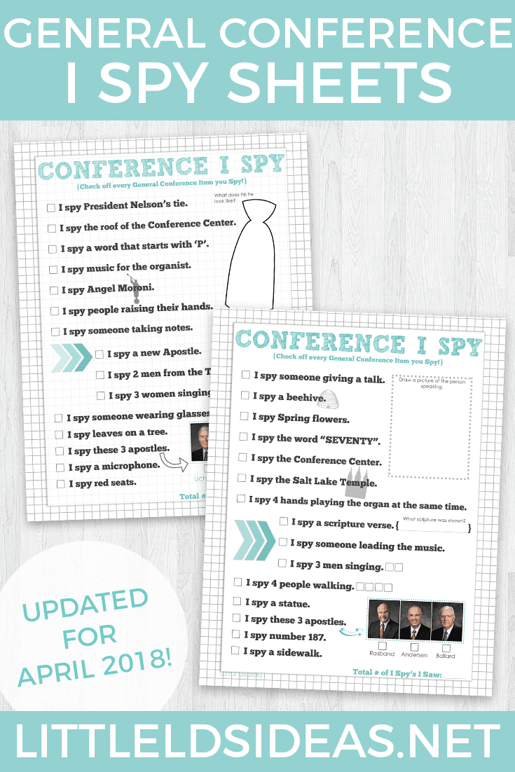 April General Conference I Spy Sheets from Little LDS Ideas