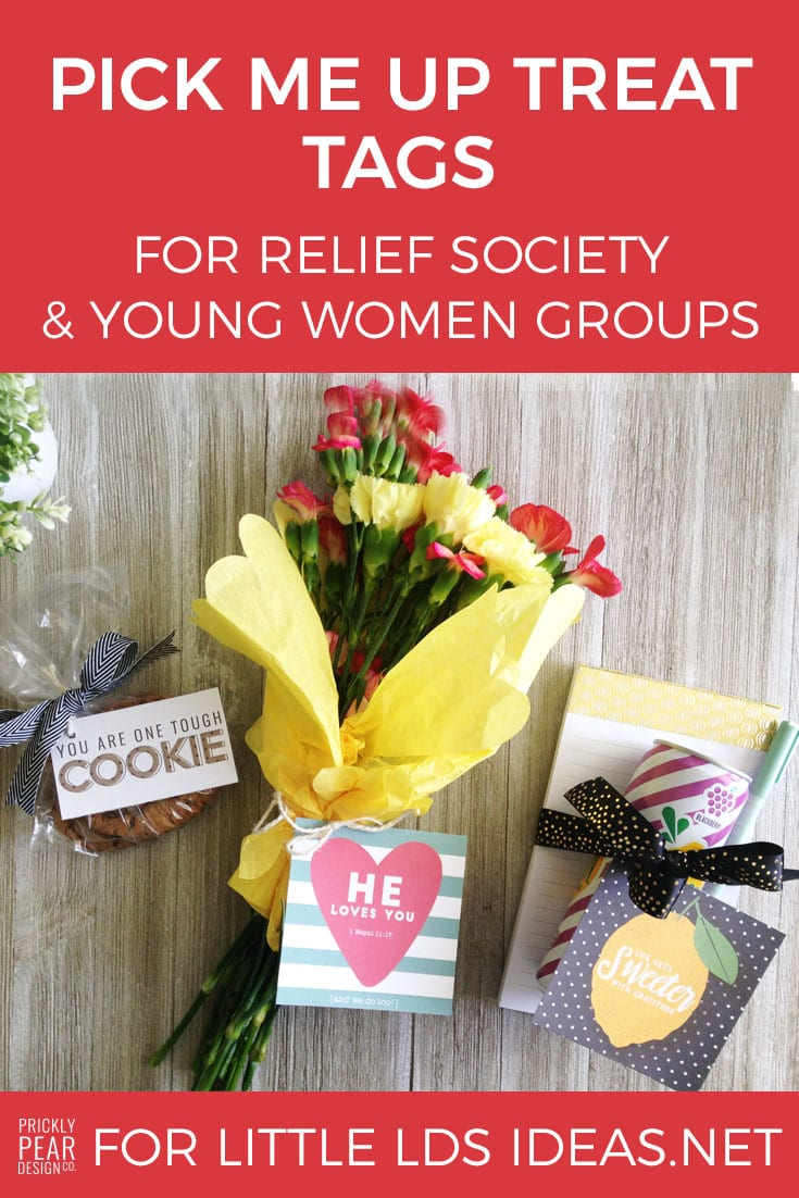 Pick Me Up Treat Tags for Relief Society & Young Women Groups. These cute little tags make the perfect gift for anyone that needs a little pick me up.