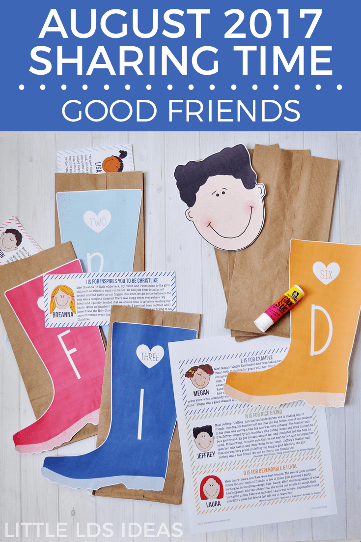 August 2017 Week 1 Sharing Time Idea from Little LDS Ideas. Good Friends Sharing Time Idea. This is such a cute activity that will teach the children about good friends and being good friends.