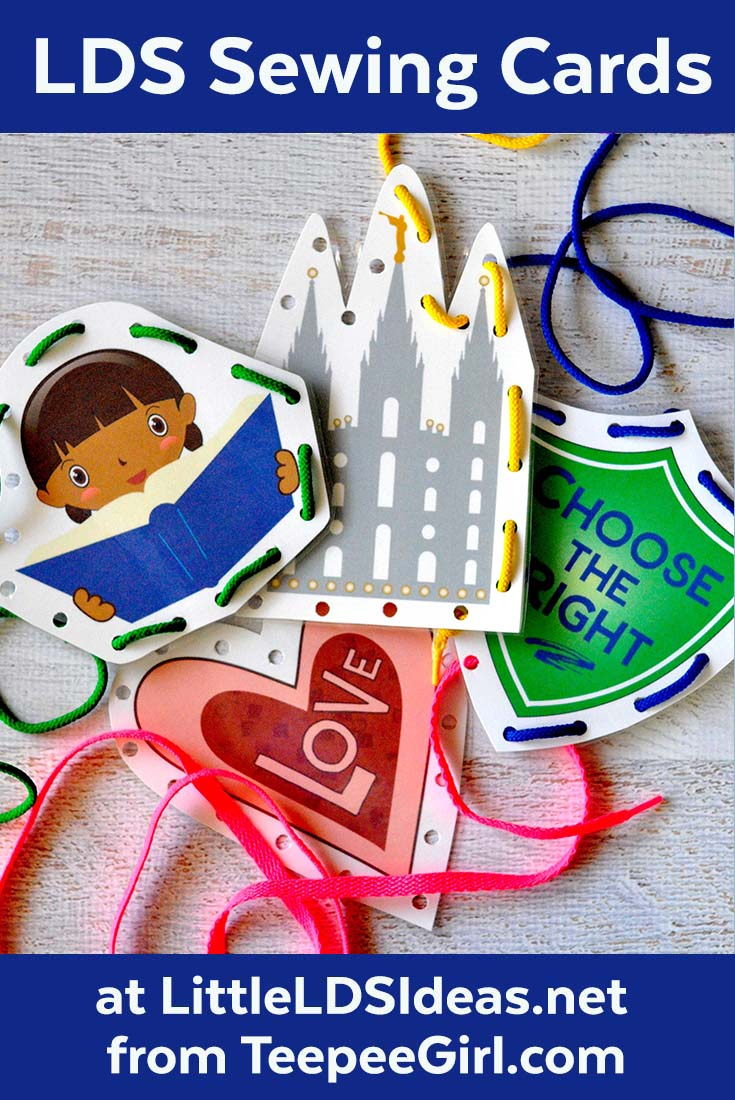 These LDS sewing (lacing) cards are perfect for church, primary, or general conference! They keep kids busy & happy! Get them at www.LittleLDSIdeas.net.