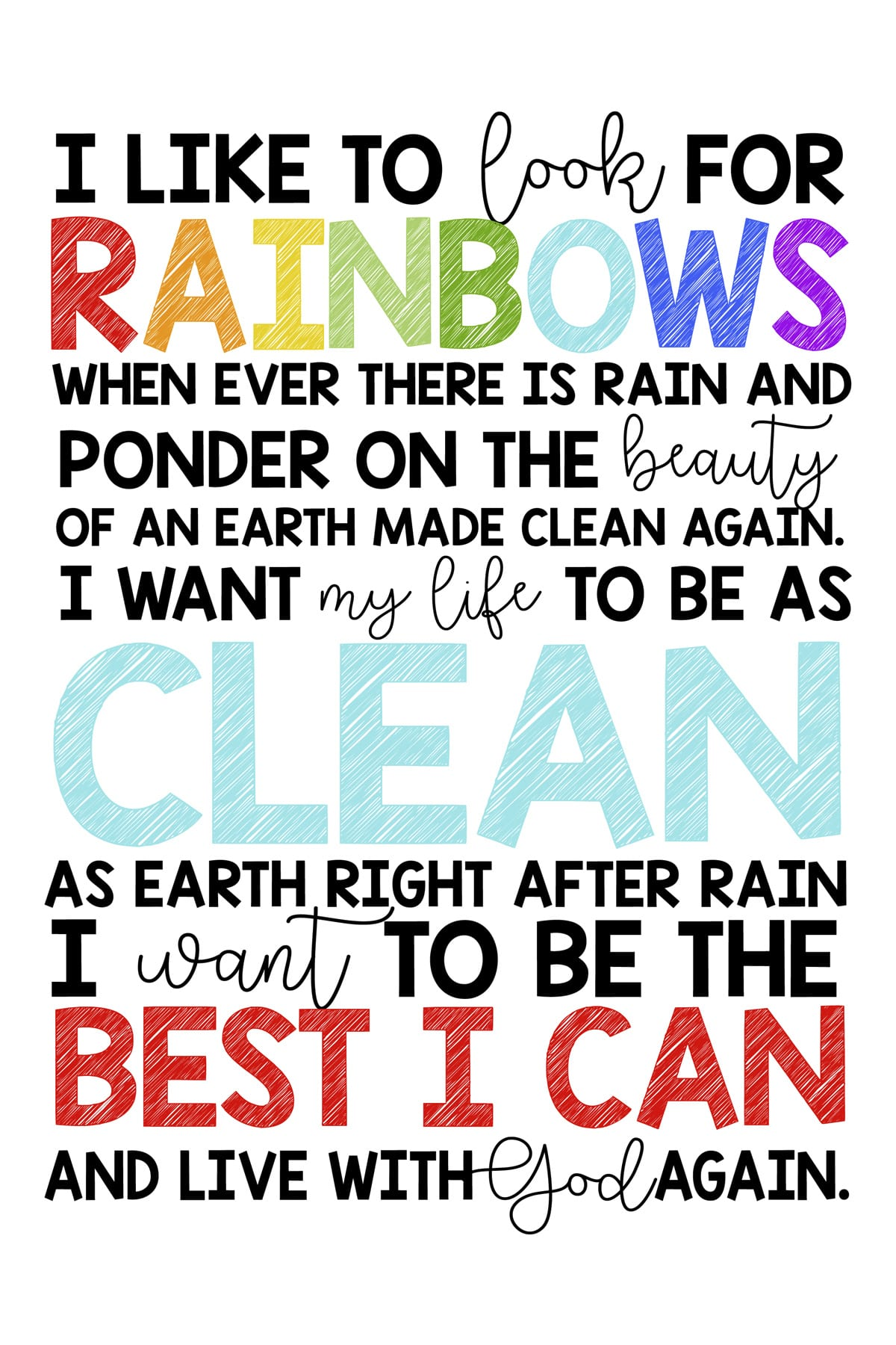 Lds Rainbow Baptism Quote Printable By Emily Clark