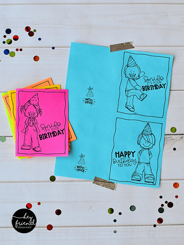 birthday card printable full sheet