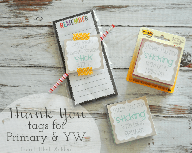 Sticky Note Thank You Tags