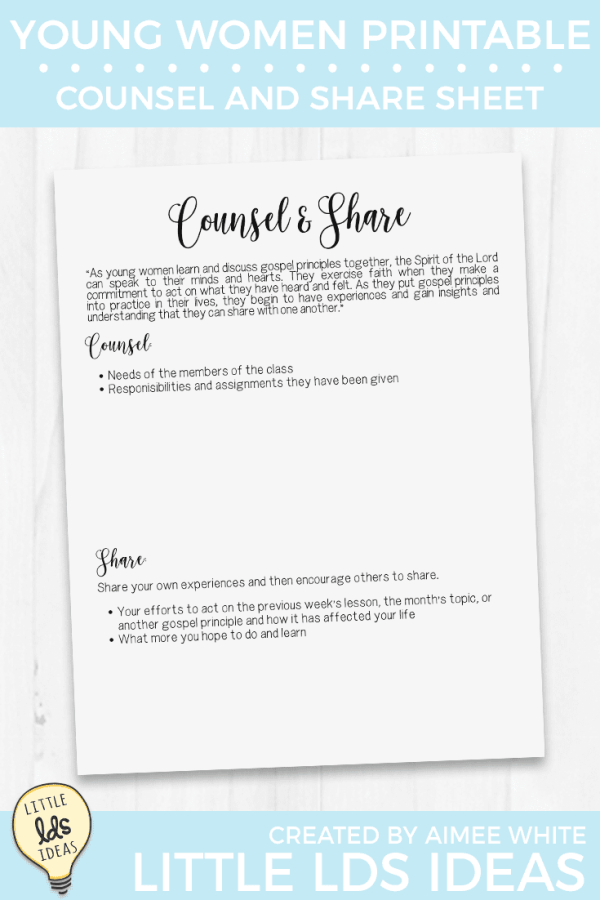 Counsel and Share Young Women Printable