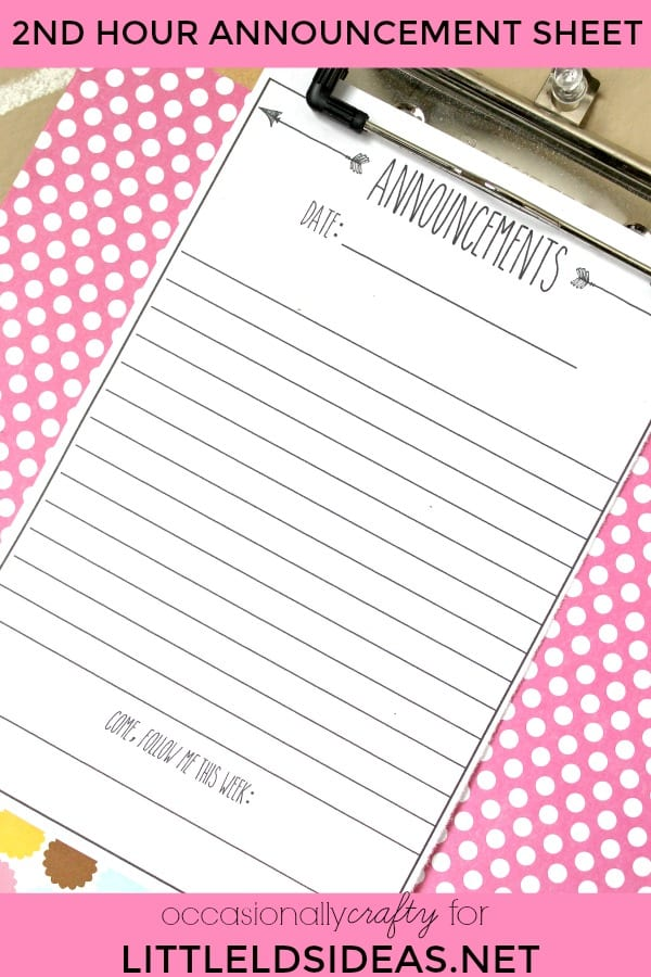 weekly announcement sheet free printable