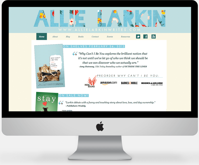 Allie Larkin // Author Wordpress design