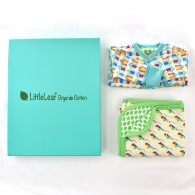 ethical baby gift, organic cotton baby grow and blanket in a gift box