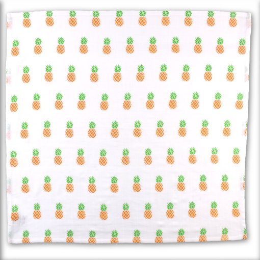 Organic Cotton Baby Muslin Square with Pineapple Design in Green and Orange