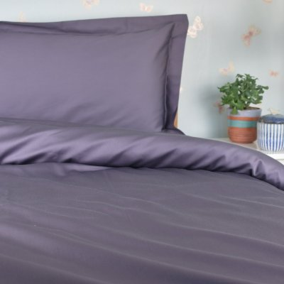 Organic Cotton Duvet Cover in a Chocolate Plum Purple Grey Colour, Ethical Bedding, GOTS Certified
