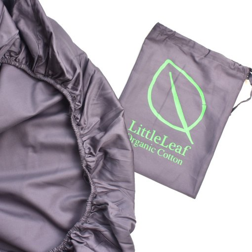Chocolate Plum Organic Fitted Sheet and Bag by LittleLeaf