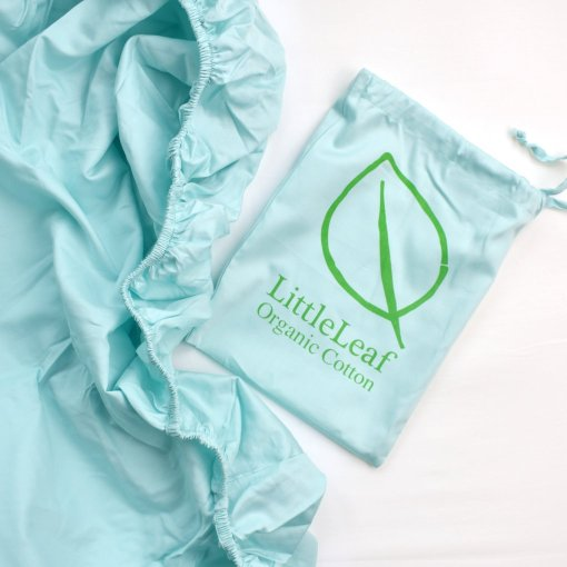 Aquamarine Organic Fitted Sheet and Bag by LittleLeaf