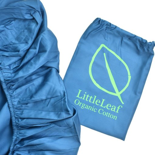 Ocean Blue Organic Fitted Sheet and Bag by LittleLeaf