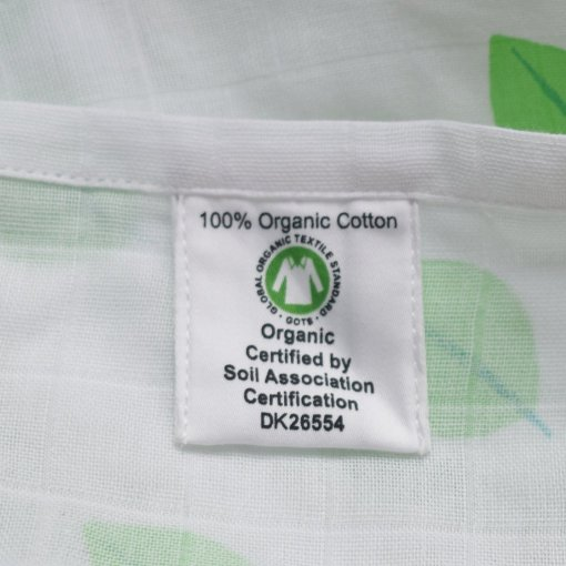 100% Organic Cotton Swaddle with Leaf Design by LittleLeaf (Close-up of GOTS Organic Cotton Label and Soil Association Certification)