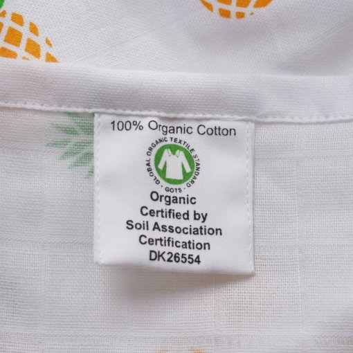 100% Organic Cotton Swaddle with Pineapple Design by LittleLeaf (Close-up of GOTS Organic Cotton Label and Soil Association Certification) for the Ethical Baby