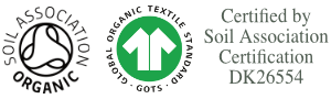 Soil Association and GOTS logos certify organic cotton standards including welfare and fair trade standards