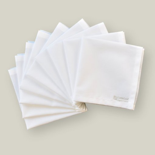 Family Pack of 9 white organic cotton handkerchiefs by LittleLeaf