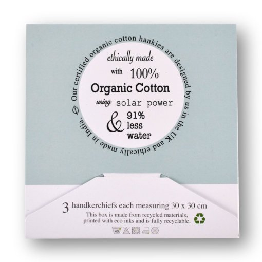 Handkerchief Gift Box Back - Three Pack organic cotton handkerchiefs by LittleLeaf, in a gift box
