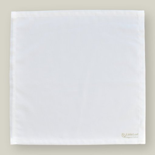 White Organic Cotton Handkerchief, GOTS and Soil Association Certified, sustainably and ethically made by LittleLeaf