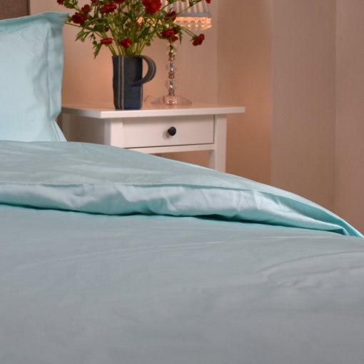 Organic Duvet Cover in an Aquamarine Colour, Ethical Bedding, GOTS Certified