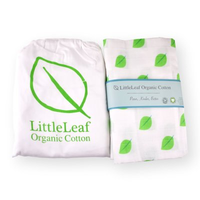 Organic Cot Bed Sheet and Swaddle by LittleLeaf