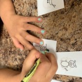 Time to color the memory game language activity for children.